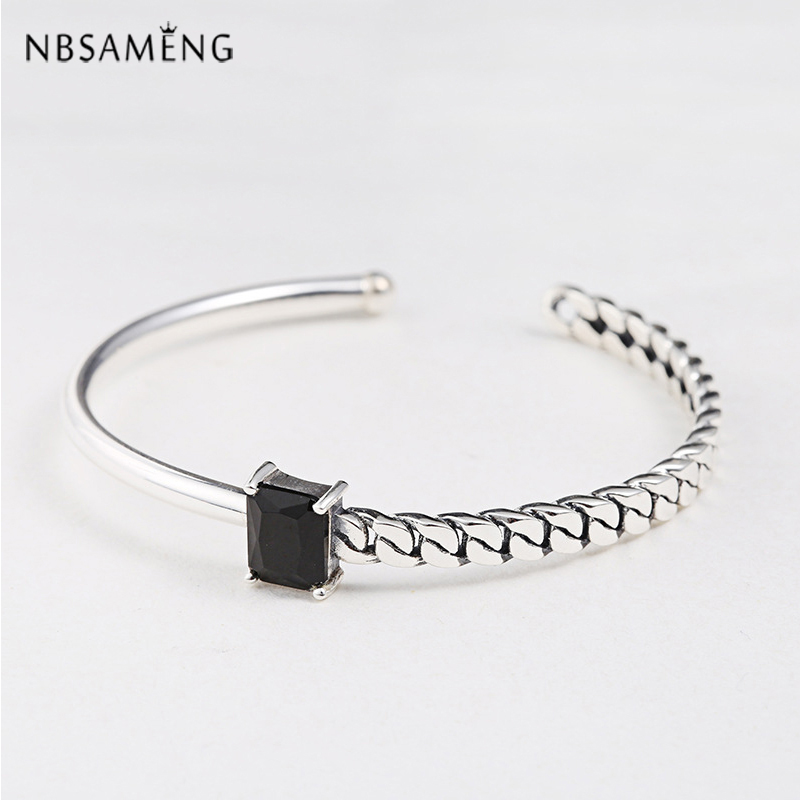 New Authentic 925 Sterling Silver Bracelet Black Onyx Bead Opened Bracelet and Bangle For Women Fine Jewelry Black Blue купить недорого в Москве