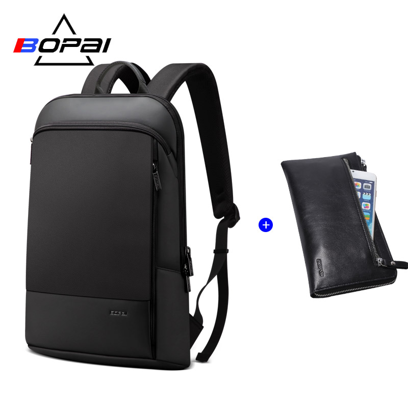 Bag Set 14inch Slim Laptop Backpack Men Business Bag Unisex Black Ultralight Backpack Thin Back Pack