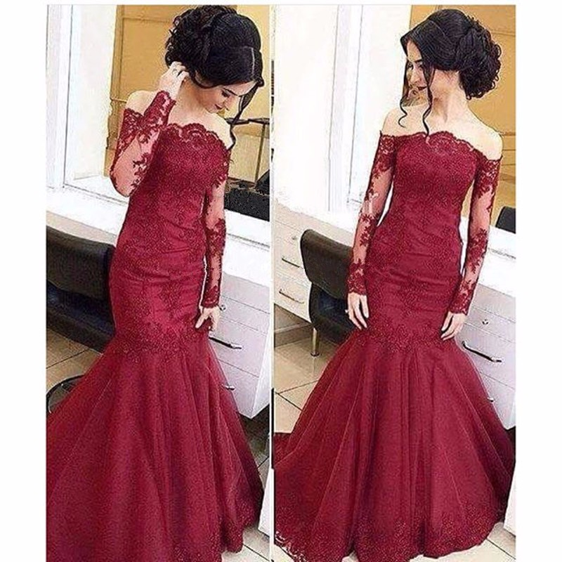 Burgundy Mermaid   Prom     Dresses   2019 Off The Shoulder Lace Bodice Evening   Dresses   With Long Sleeve Vestido De Festa Custom Made