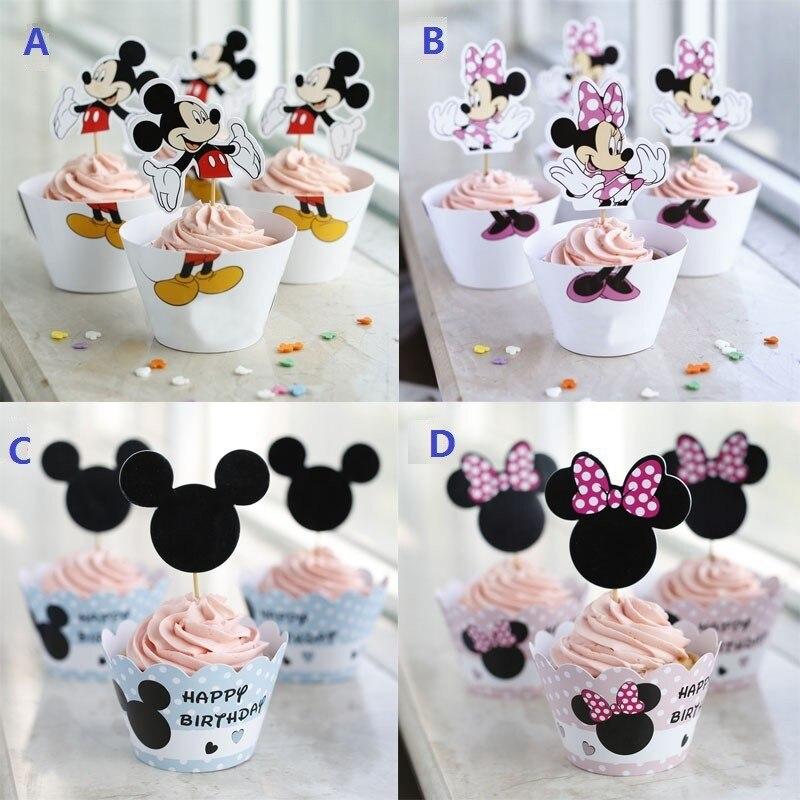 US $2.46 22% OFF|24 PCs Mickey Minnie maus cupcake wrapper, cupcake wrapper  und toppers dekoration geburtstag par-in Cake Deko aus Heim und Garten bei  ...
