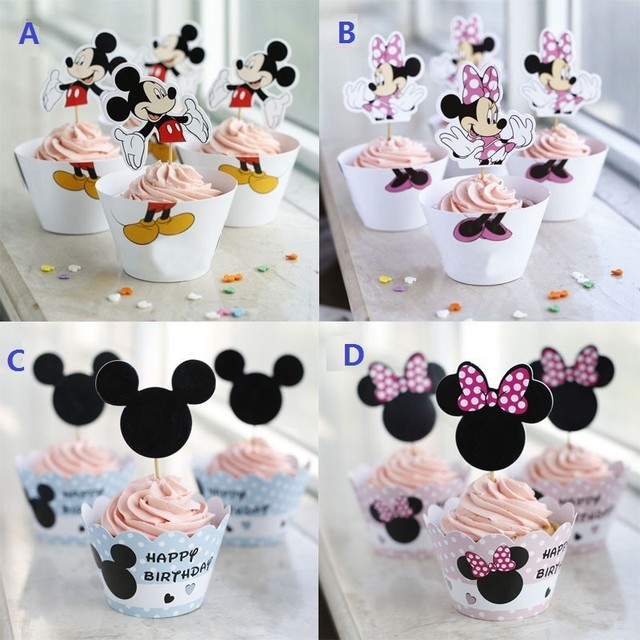 24 Stucke Mickey Minnie Mouse Kuchen Verpackungen Cupcake Wrapper