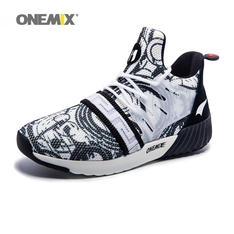 Onemix Pria Sepatu Lari untuk Wanita Olahraga Sepatu Tinggi Kaki Outdoor  Sneakers Atletik Pria Hitam Putih Meningkatkan Tinggi Badan Ukuran 36 45 di  Running ... c3f1db75ab