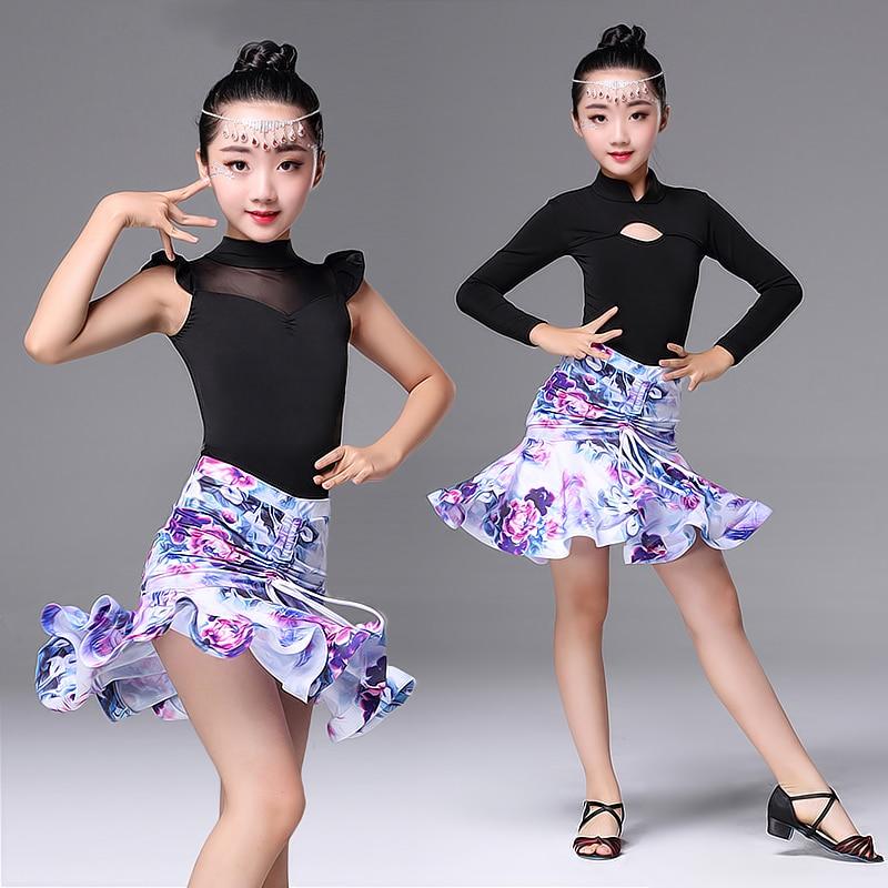 Girl Latin Dance Dress Long Short Sleeve Practice Dancing Latin Skirt Ballroom Performance Clothes Children Fashion Dress