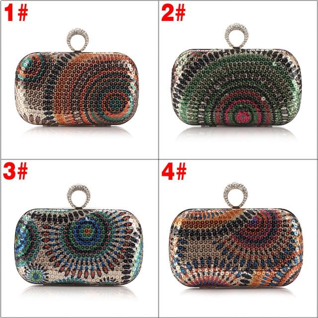 Peacock Grains Style Circle Sequins Bridal Wedding Party Evening Clutch Bag Purse Handbag For Women 88 BS88
