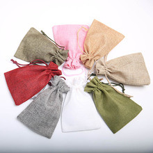 10pcs Natural Linen Jute Sack Jewelry Candy Pouch Food Decoration Coin Wedding Gift Storage Drawstring Bag Pouches 10*15cm