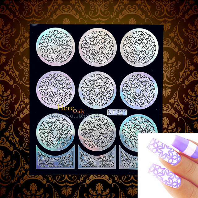 Cute Star Laser Hollow Nail Vinyls Foil Template Ultra Thin Decal Accessory HNF321 Children Manicure