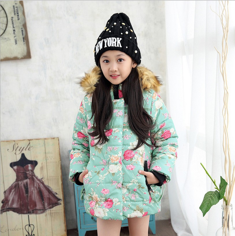 ФОТО Girls winter coat clothes Girls thick jacket Children's hooded coat jacket children Floral baby fur collar padded jacket 30#