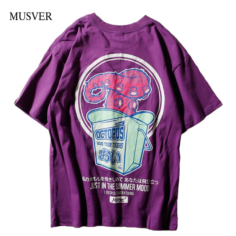 MUSVER Hip Hop Men T-Shirts 2018 Summer Causal Cotton Japanese Letter Printed Short Slee ...