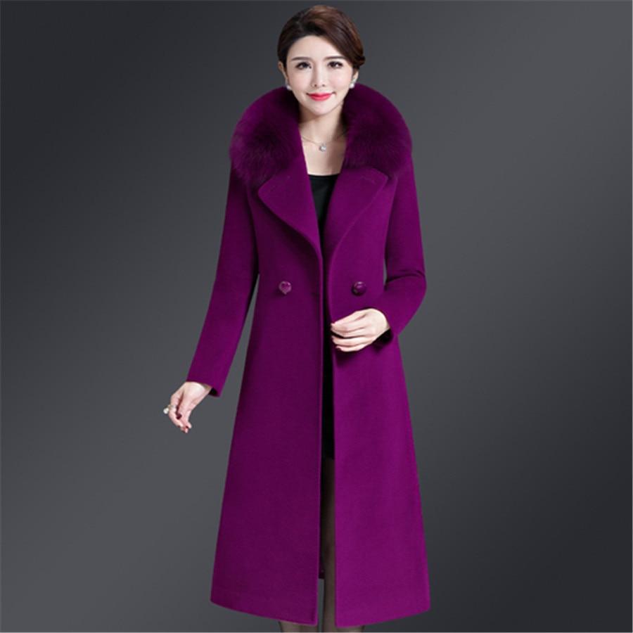 purple Coréen Slim Taille 5xl Street Élégant Épaisse 2019 Grande red blue Style khaki Wine Fourrure Col Manteau Qualité De Haute M Black Femmes Veste f6x81