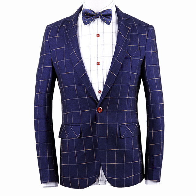 Плед пиджак мужчины костюм Homme большой размер пальто блейзер Masculino бренд одежды 2016 мода мужчин пиджак платье пиджак