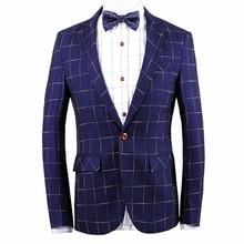 Plaid Blazer Men Costume Homme Large size Coat Blazer Masculino Brand Clothing 2016 Fashion Men Blazer Dress Suit Jacket