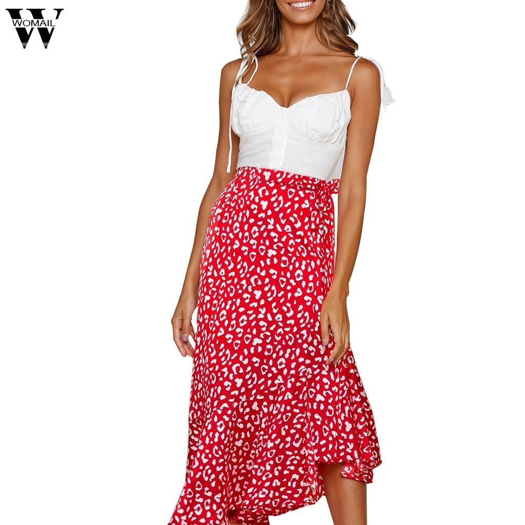 Womail Skirt Women Summer Elastic Waist Leopard Skirt Vintage  Loose Long Maxi Skirt Fashion Daily NEW 2019 Dropship A1
