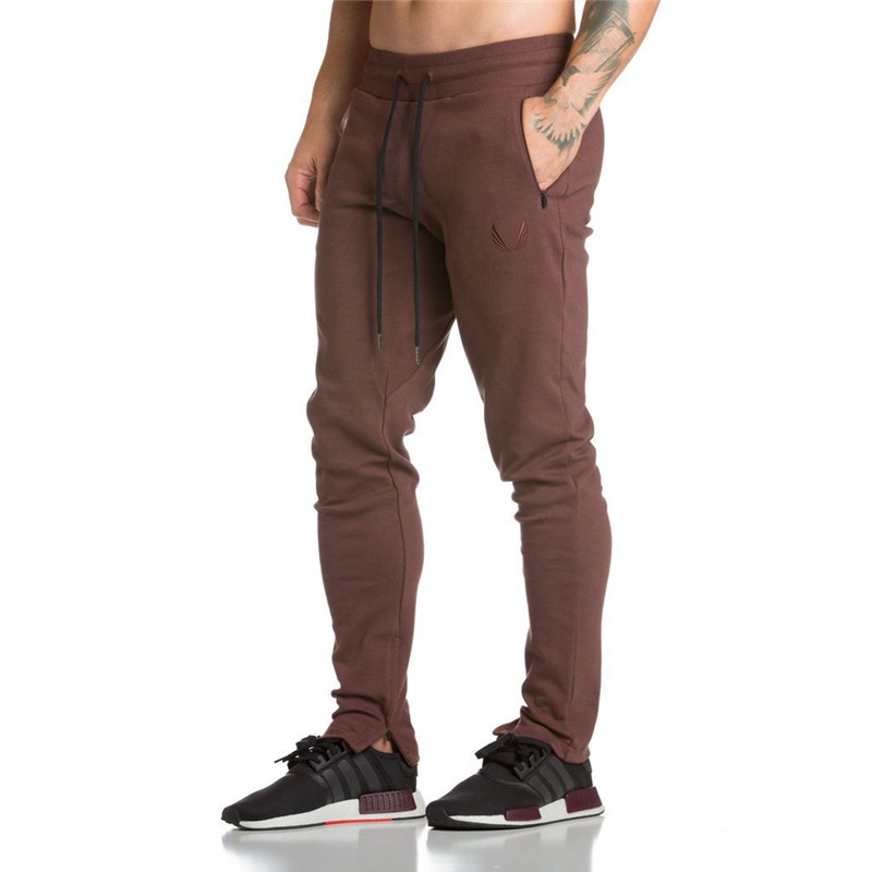 2019 New Gyms Men's Pants Joggers Skinny Sweat Pants Embroidery Tights Sweatpants For Men Side Zipper Sheer Trouser Pants