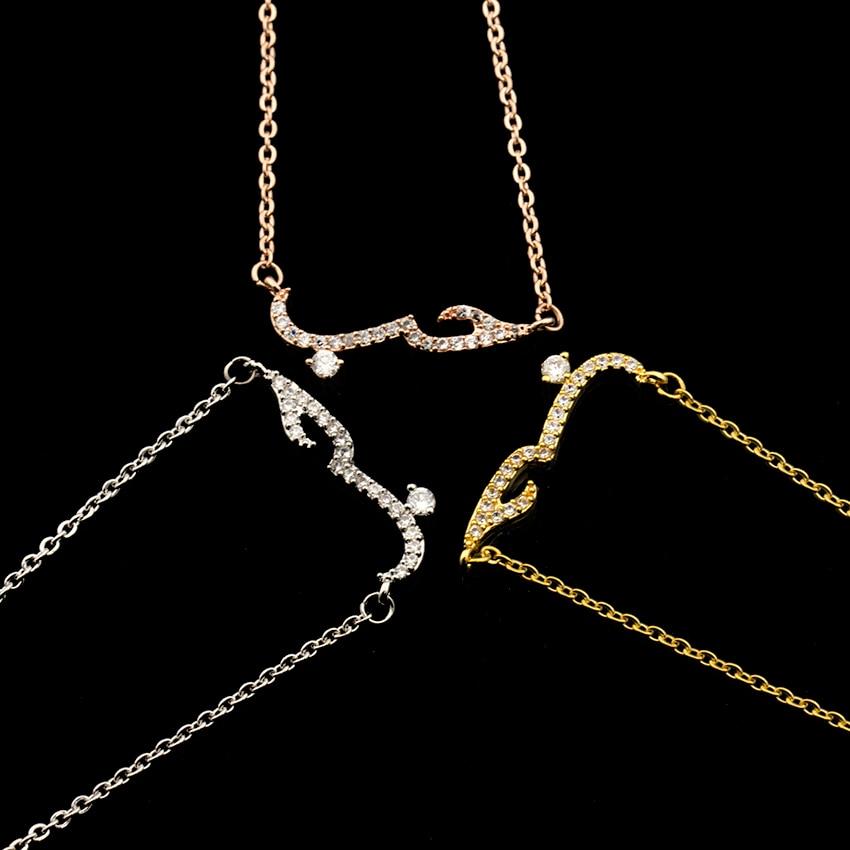 Handmade Bff Gift CZ Arabic Love Statement Necklace Women Kolye Rose Gold Filled Arabic Crystal Pendant Choker Necklace Jewelry