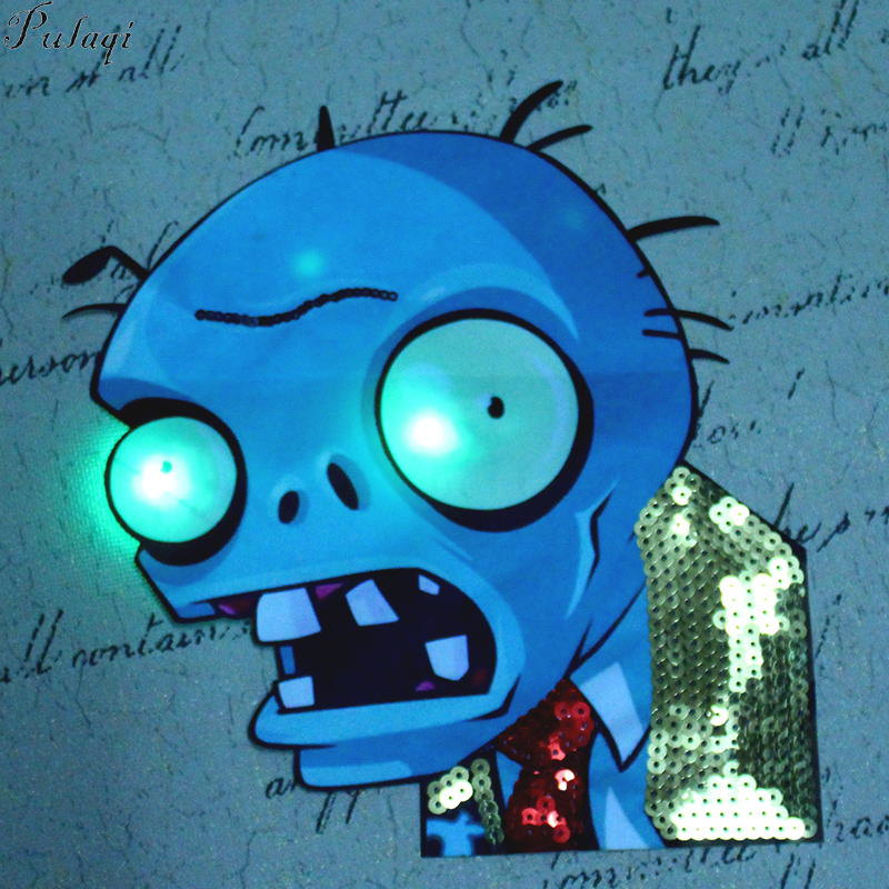 Pulaqi Zombies LED Sequins Patch On Clothes DIY Embroidered Patches For Clothing Sewing On Caroon Patches Cute Badges For Kids in Patches from Home Garden