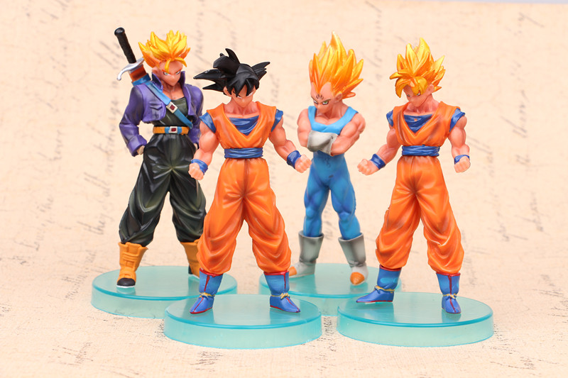 NEW hot 13cm 4pcs/set Dragon ball Super Saiyan Trunks vegeta Son Goku Kakarotto action figure toys collection Christmas gift