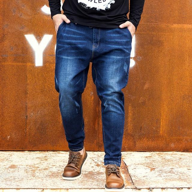 1ec0904e Tobillo Vaqueros hombres más tamaño Pantalones harem Denim Otoño Invierno  moda cordón grande oversize ropa de