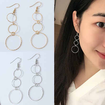 Fashion Geometric  Size Circle Irregular Fashion Tassel Earring, Golden Multi-circle Long Earrings Jewelry Accessories