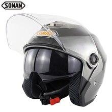 SOMAN SM517 двойной козырек скутер шлемы Чоппер Винтаж Casco мотоциклетный шлем мото открытый шлем точка утверждения