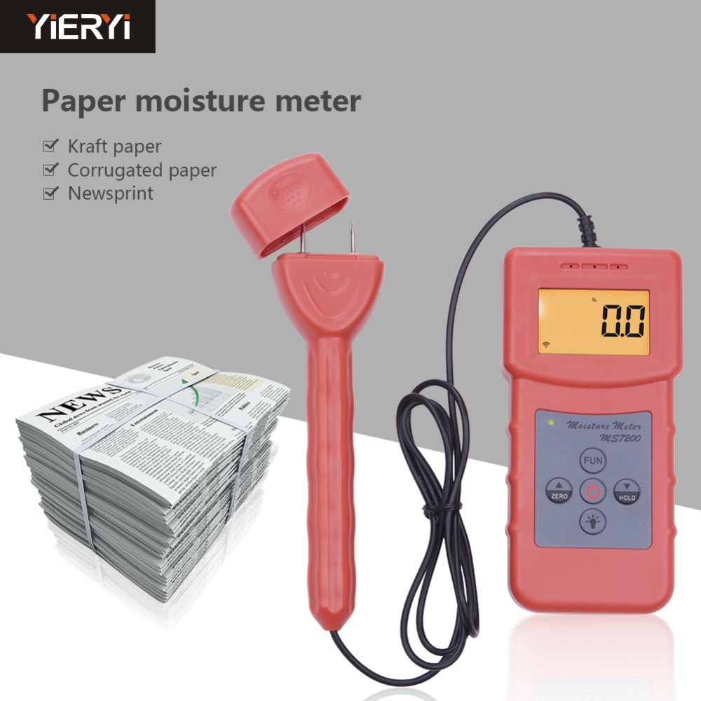 Yieryi MS7200+ Handheld Digital Wood Moisture Meter for Timber Paper Bamboo Concrete Floor professional high precision high precision digital electric moisture meter wood timber plank humidity moisture content tester gauge with 11mm probe vc2ga