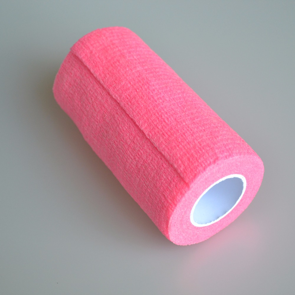 12Pcs/Lot Medical Fluorescent Cohesive Bandage CE/FDA Certification Elastic Sports Protection Tape 10cm*5m Color Pink self adhesive sports elastic tape multicolour cotton bandage medical ankle support belt sports safety tape bandage 20rolls pack