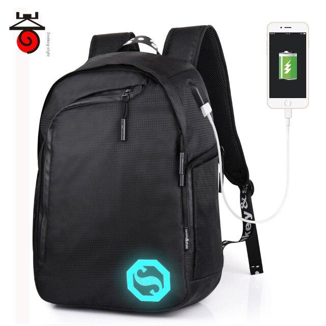 709954cc8e3c Senkey style USB Charging Men s Backpacks Male Casual Luminous Mochila  Teenagers Student School Bag Business Laptop
