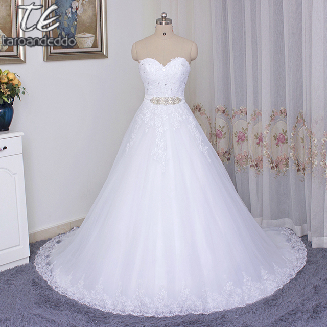 Wedding Ball Gowns Sweetheart Neckline: Sweetheart Neckline Beading Sash Shiny White Ball Gowns