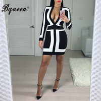 Pre Order HEGO New Fashion Black And White Patchwork Deep V Sexy Bandage Dress