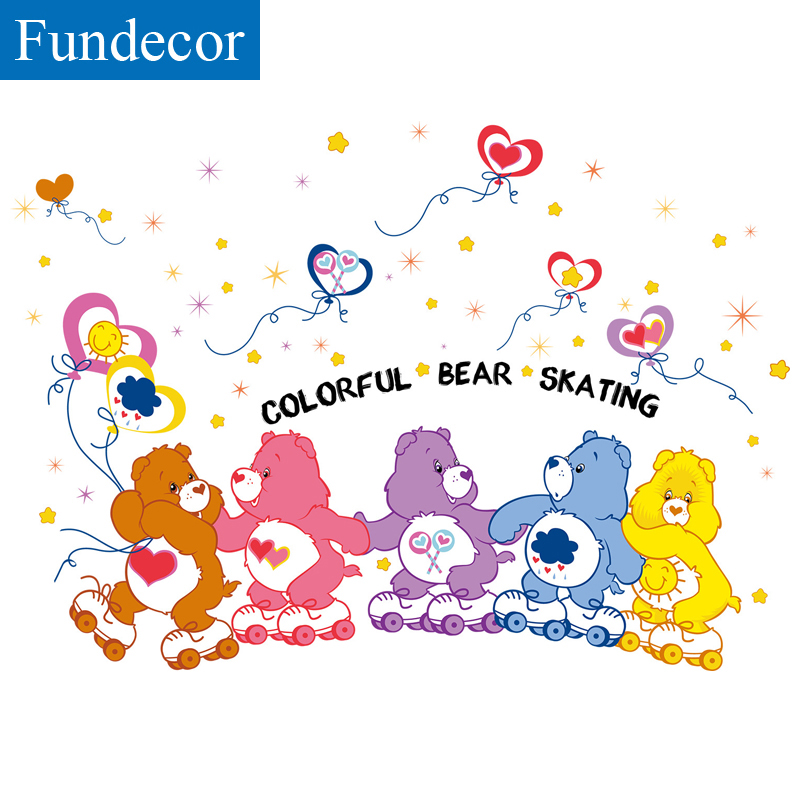 [Fundecor] Colorful bear skating children wall stickers for kids rooms boy baby girl bedroom wall decals adhesive diy home decor