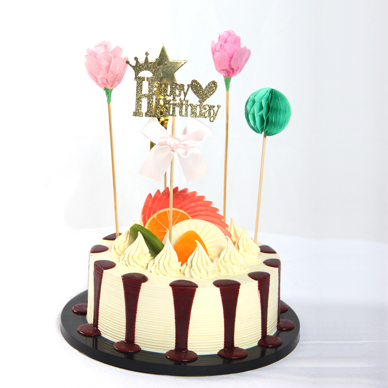 Happy Birthday Cake Topper Girl Party Table Centerpiece Sticks Vase Bottle Toppers Princess Ornament Home Decor