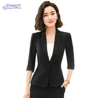 Elegant Women Blazer Jacket Office Lady Casual Notched Jackets Business Work Half Sleeve Coat One Button Female Outwear Clothing