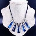 Las Mujeres Collar de gargantilla Geometría Cuadrada Azul de Cristal Bling Del Punky de La Vendimia Accesorios Bijoux Femme Colier Maxi Collar de Señora Jewelry