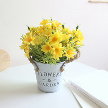 Plastic Fake Flower Mini Potted With Hemp Rope Handle Iron Garden Party Home Decoration Artificial Daisy Flowers Pot