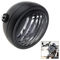 Universal 6 Inch Motorcycle Retro Refit Metal White Headlight Black Color With Grill Cover For Harley