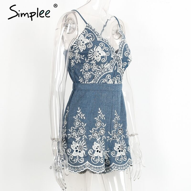 Simplee Embroidery v neck summer jumpsuit romper Strap elegant jumpsuit women floral playsuit 2017 sexy zipper short overalls