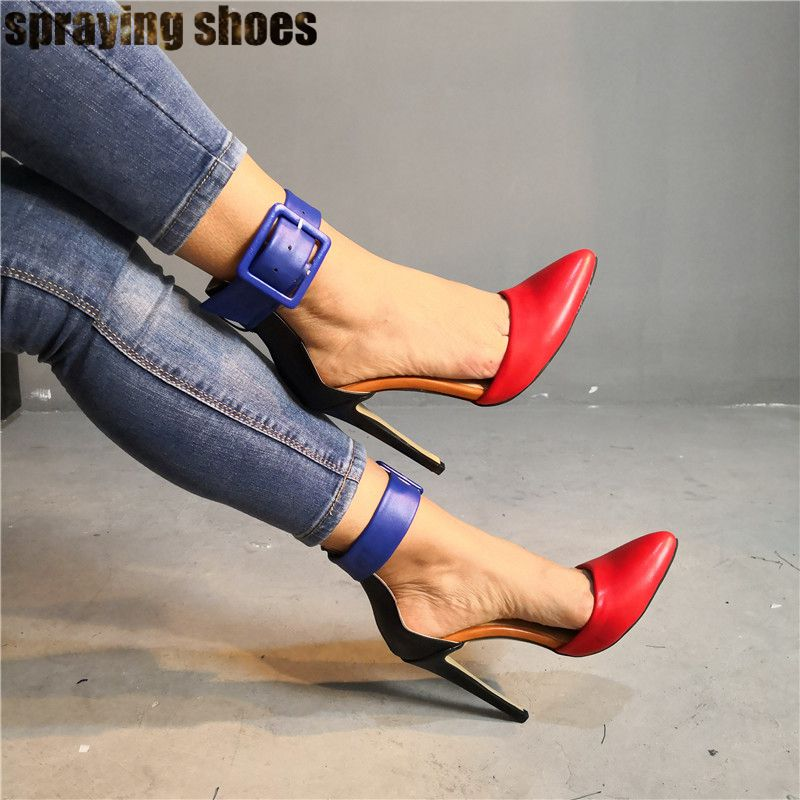 Trendy Multicolor Leather Women High Heel Sandals Pointy Toe Ankle Buckle Strap Summer Ladies Pumps Sexy Party Shoes Stilettos - 4