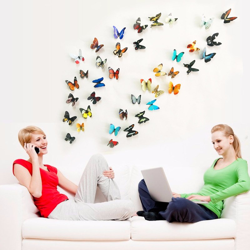 3D Butterfly Wall Stickers  Colorful Bedroom Living Room Decors For Home Fridage Decoration Stickers 19pcs/lot(China)