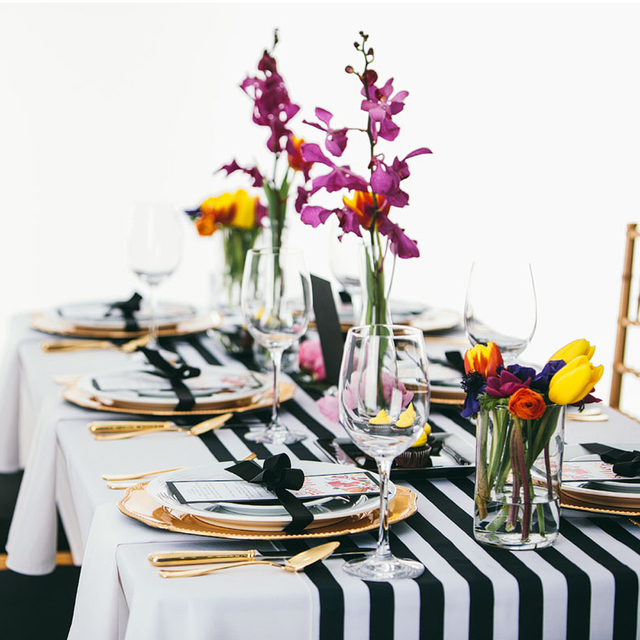 35cm X 275cm Black And White Striped Table Runner For Wedding Centerpiece Home Decor