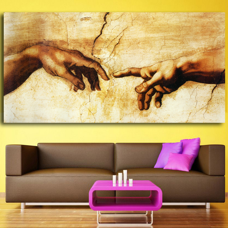 Creation Of Adam! Hand Of God! Canvas Prints Religion Wall