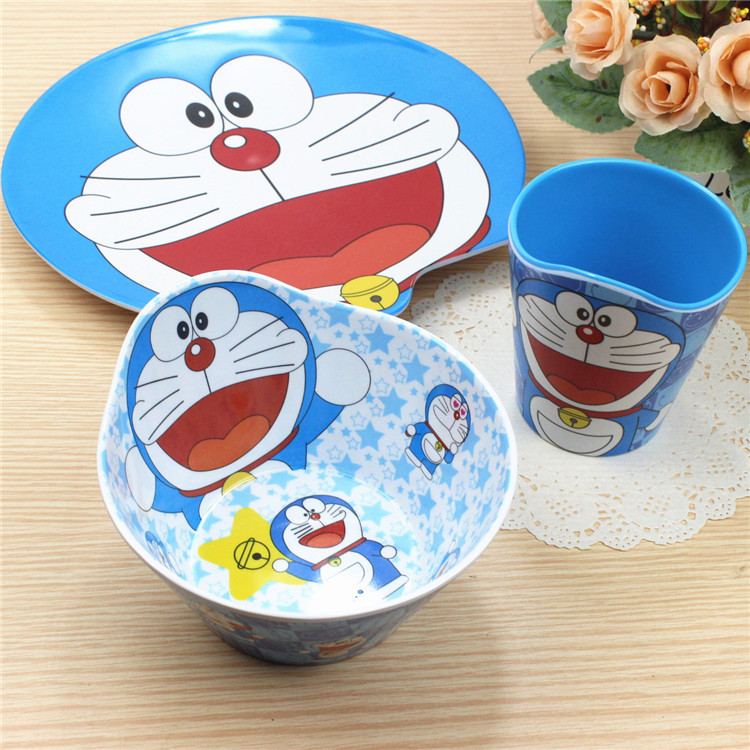 SGS passed doraemon plastic melamine dinnerware set anti borken plate bowl cup for kids and school students