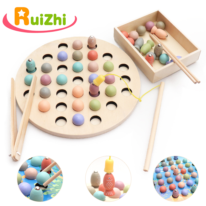 Ruizhi Children Magnetic Fishing Game Clip Beads Wooden Montessori Puzzle Toys Baby Learning Educational Toys Kids Gifts RZ1075