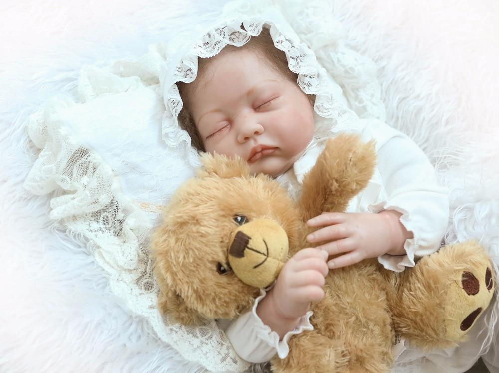 """22 """"reborn babies lalki tkaniny ciała z teddy niedźwiedź lalka pluszowa zabawki dla dzieci prezent bebe żywy reborn menina de silikonowe menina boneca w Lalki od Zabawki i hobby na  Grupa 1"""