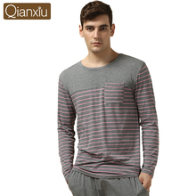 Qianxiu Modal Nachtwäsche Anzug für männer Klassische Streifen Lounge Tragen langhülse Liebhaber Pyjamas Sets