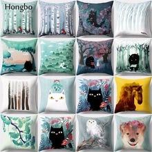 Hongbo 1 Pcs Cushion Cover Fox Horse Owl Dog Home Decorative Pillow Case Nordic Styles