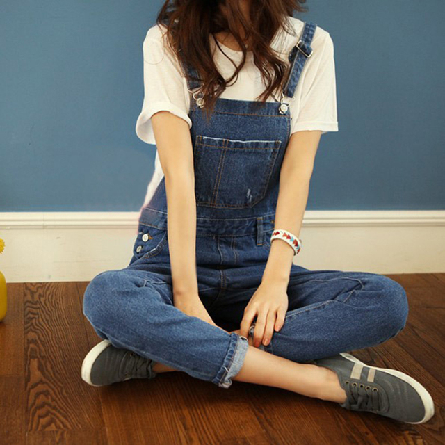 New Fashion Cotton Ankle Length Washed Overalls Female Denim Jumpsuit Women Jeans Straps Rompers Womens Jumpsuits Pant DS-30278