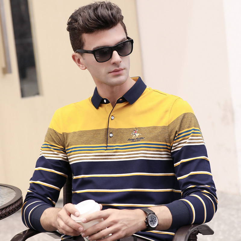 Spring autumn hot sale long sleeve men's   polo   shirt striped fashion business casual breathable homme camisa plus size XXXL 6629