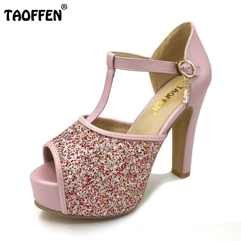 TAOFFEN women quality high heel sandals fashion dress sexy shoes platform heels pumps P13878 Hot sale EUR size 32-42 hot sale brand ladies pumps sexy women high heels platform sexy women high heel pumps wedding shoes free shipping 2888 1