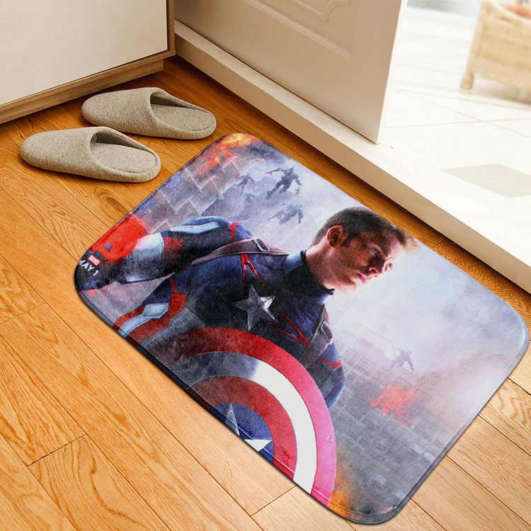 Коврики Противоскользящие коврики Мстители Капитан Америка Тор чудо женщина Печатный узор Коврик в ванную комнату дверь гостиная