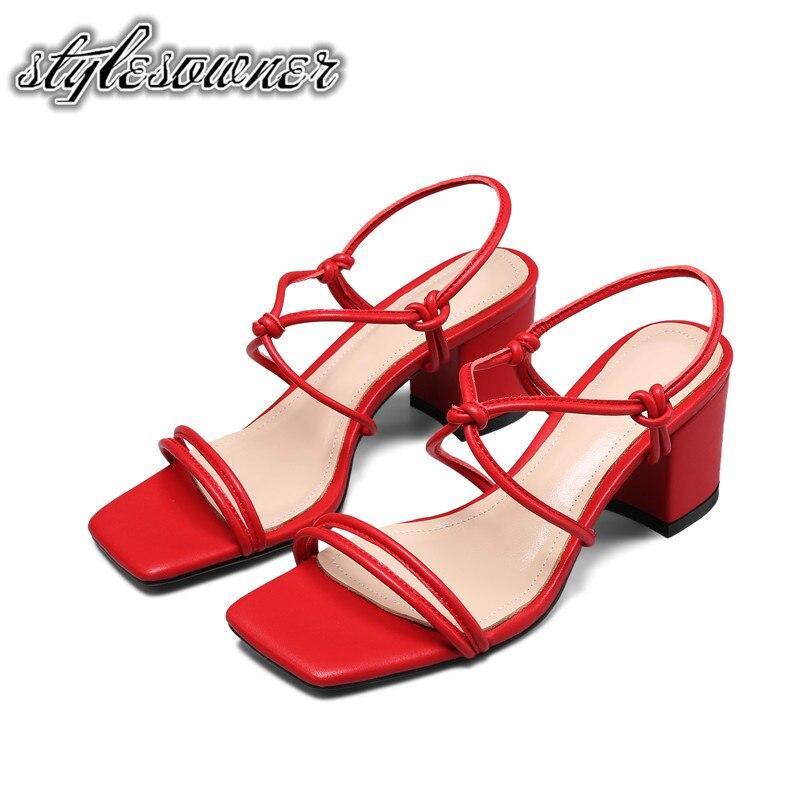 White Sandalias Piel Red 39 Rojas 6 Concisa De Abierta Cm Tacones EH9IWD2