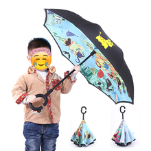Folding Reverse Umbrella Double Layer For Children Rain Umbrellas Inverted Windproof Cartoon Kids Uv Protection